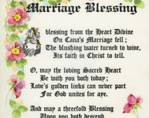 Vintage poetry water color caligra phy marriage blessing signed ...