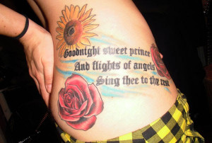 sweet good night quote from Shakespeare with sunflowers and roses