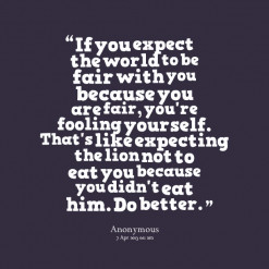 ... the lion not to eat you because you didn\'t eat him. Do better