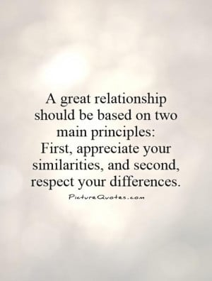 great relationship should be based on two main principles: First ...
