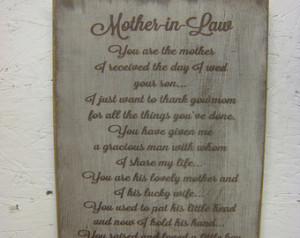 Rustic Sign for your Mother-in-Law. Distressed & Antiqued Makes a ...