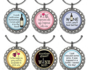 Funny Wine Sayings Bottle Cap Wine Markers
