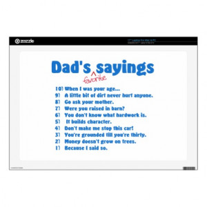 Dad's favorite sayings laptop decals