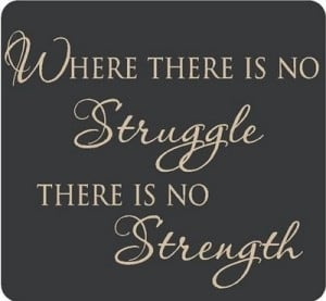 Where there is no struggle,there is no strength