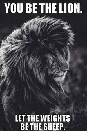 You be the lion. Let the weights be the sheep.