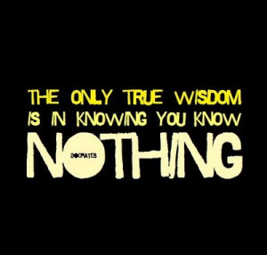 The only true wisdom is in knowing that you know nothing. -Socrates
