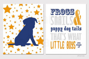 Boys Wall Art Nursery Quote Frogs Snails Puppy Dog Tails - Print Set ...