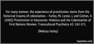 ... Nations Women. Transcultural Psychiatry 42: 242-271. - Melissa Farley