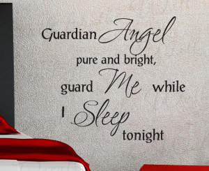 Guardian Angel Pure and Bright God Religious Vinyl Wall Decal Quote