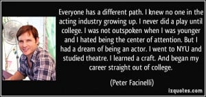 Everyone has a different path. I knew no one in the acting industry ...
