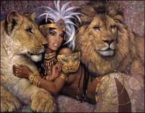 took inspiration from these 'African Queen' illustrations I remember ...