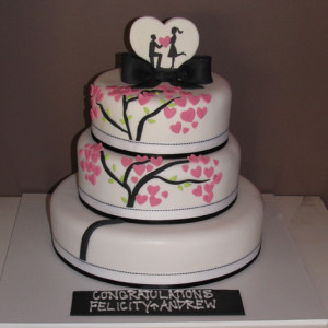 tier heart themed engagement cake