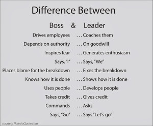 The difference between boss and leader.
