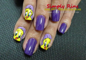 Tweety nail art by Simply Rins