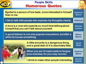 People Skills humorous quotes, emfographics - egotist, bore, drinking ...