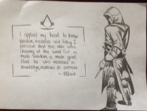 Assassins Creed Altair And Quote Drawing