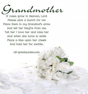 In Loving Memory Cards For Grandmother – If Roses Grow In Heaven ...