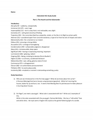 Name Fahrenheit 451 Study Guide Part 1 The Hearth and the