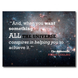 Paulo Coelho The Alchemist Quote, All the Universe Postcard