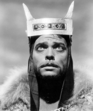 Portrait of Orson Welles for Macbeth directed by Orson Welles, 1948