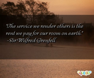 The service we render others is the