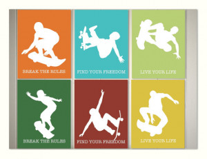 Skateboard art, boys room sports art, teen boy wall decor, dorm room ...