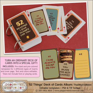 52 Things I Love About You Deck of Cards Album