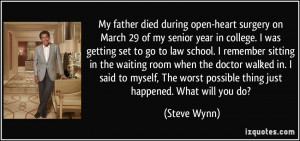 My father died during open-heart surgery on March 29 of my senior year ...