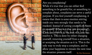 Complaints are helpful tools to happiness