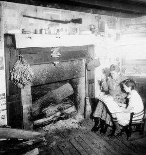 Leslie County, KY. Interior of mountain cabin/Goodman-Paxton ...