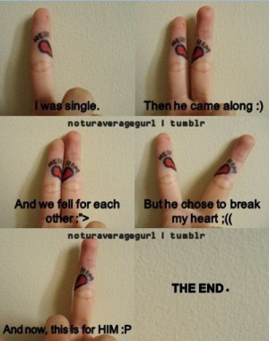 end, fingers, fuck you, heart, love, quote