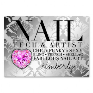311 Tres Chic Damask Nail Tech Diamond Heart Large Business Cards ...
