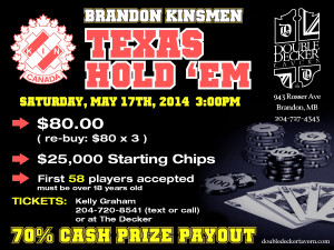 Texas Hold 'Em Poker Tourney – Saturday, May 17th