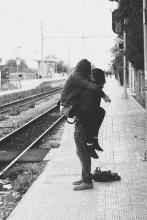 kiss, love, rails, train station