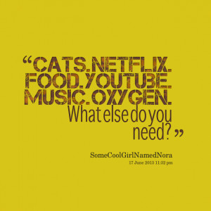Quotes Picture: cats netflix food youtube music oxygen what else do ...