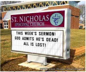 Funny church sign (believe, Kingdom, salvation, Christ)
