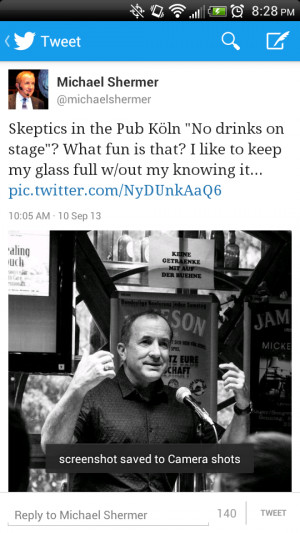 Michael Shermer tweets, then deletes, a photo of himself onstage in ...