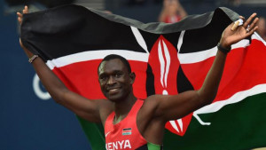David Rudisha celebrates taking silver in 800m at the 2014 ...