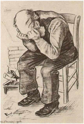 OLD MAN WITH HIS HEAD IN HIS HAND by Vincent van Gogh, 1882