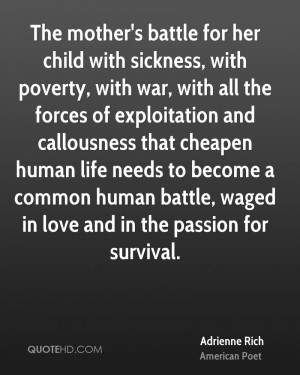 The mother's battle for her child with sickness, with poverty, with ...