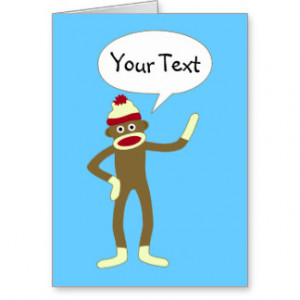 Sock Monkey Customizable Comic Speech Bubble Card