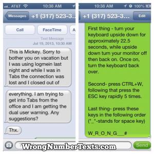 wrong numbertexts - Tech Support
