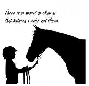... there is no secret so close as that between a rider and horse quote