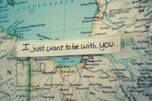 cute, handwritten, long distance, map, quote