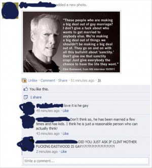 Clint Eastwood Quote (Followed By Facebook Comments)