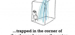 in the corner of the shower because the water has gone super cold