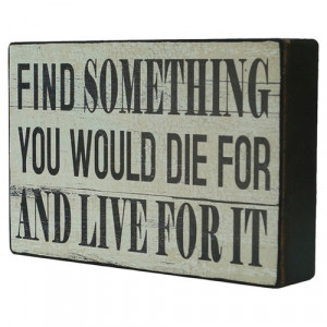 find something you would die for and live for it