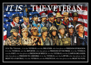 is saying Thank You to active duty military personnel and veterans ...