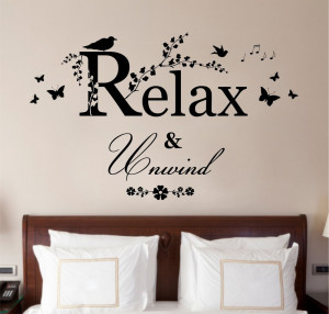 Relax-Unwind-Quote-Vinyl-Wall-Art-Sticker-Decal-Mural-Bedroom-Bathroom ...