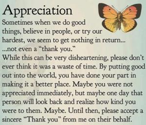 Appreciation sometimes when ...